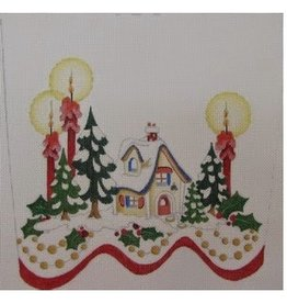 Strictly Christmas Gingerbread House with Trees & Candles Stocking Topper