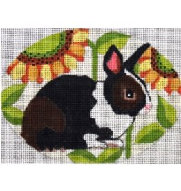 Melissa Prince Bunny w/Sunflowers<br />5&quot; x 4&quot; Oval