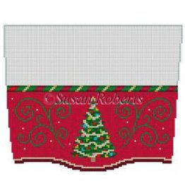 Susan Roberts Christmas Tree w/Red Background Stocking Cuff