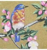 Amanda Lawford Blue Bird w/Cherry Blossom ~ Gold background<br />