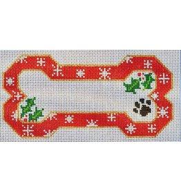 Danji Red Snow Flake Bone Ornament<br />6.5&quot; x 3.75&quot;