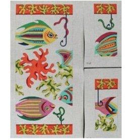 Julie Pischke Three Fish Hobo Bag<br />11&quot; x 12&quot; x 5&quot;