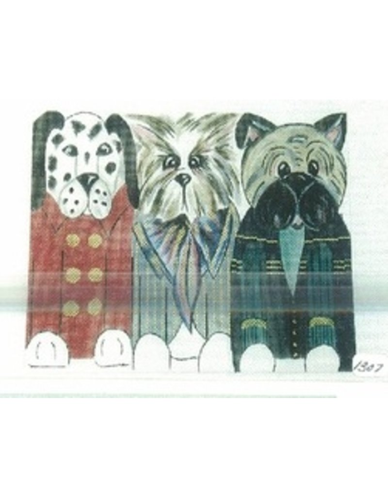 All About Stitching Three Dogs