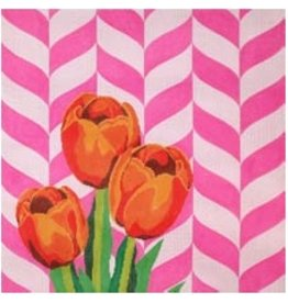 Elizabeth Turner Tulips w/Pink Background<br />