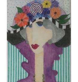 BB Needlepoint Design Lady with Flower Hat<br />