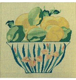 Jean Smith Designs Lemons &amp; Limes in Blue Bowl<br />14&quot; x 14&quot;