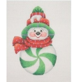 A Collection of Designs Ornament - Snowman Peppermint Green/ Red &amp; Green Sock Hat  <br />