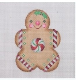 A Collection of Designs Ornament - Gingerbread Boy / Round Peppermint Center<br />