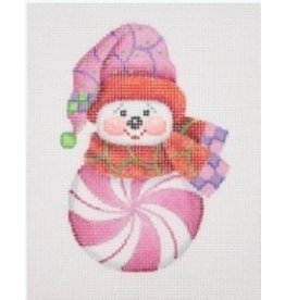 Ornament - Snowman Peppermint / Pink/Pink, Red, Purple & Green Sock Hat & Scarf