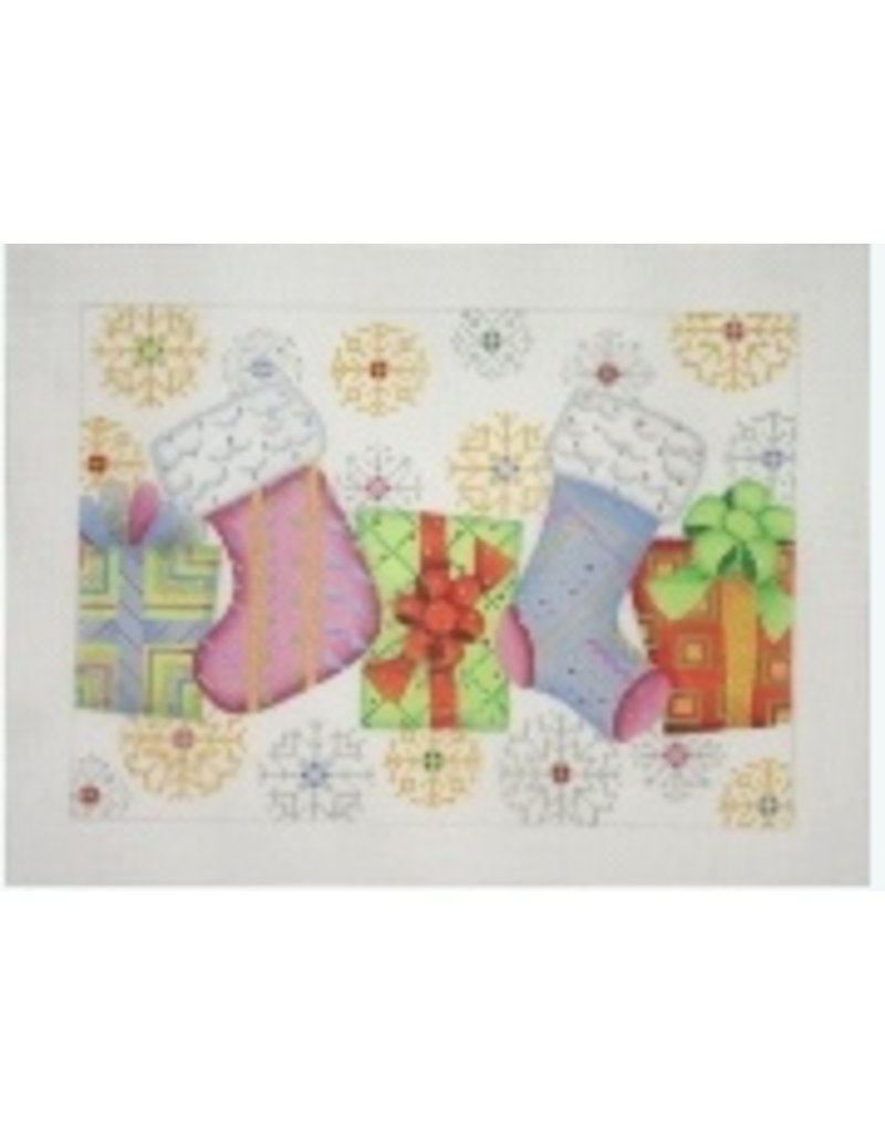 A Collection of Designs Christmas Pillow or Card Box - Socks, Packages &amp; Snowflakes<br />