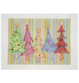 A Collection of Designs Christmas Pillow or Card Box ~ Trees with Stripe Backround<br />