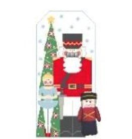 Kathy Schenkel Nutcracker Santa w/Soldier<br />11.5&quot; x 5.5&quot;