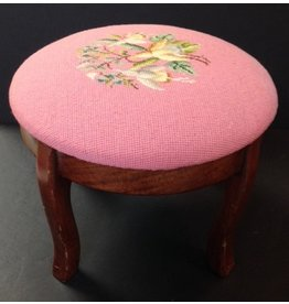 CRS Pink Needlepoint Footstool