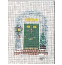 Winnetka Green Front Door at Christmas - ornament