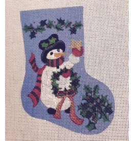 Winnetka Snowman holding wreath in a Mini Stocking ornament
