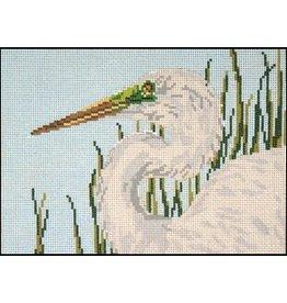 Needle Crossing Egret<br />9.5&quot; x 7&quot;