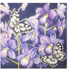 Kirk &amp; Hamilton Purple Flowers &amp; Butterflies<br />12&quot; x 12&quot;