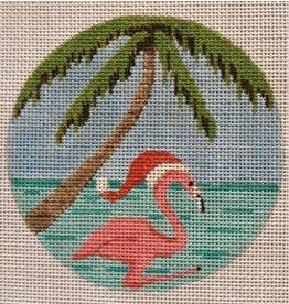 Purple Palm Designs Santa Hat Flamingo<br />4&quot; round