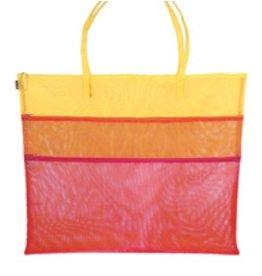 "Walker Dunham Triple Zip - Fuchsia/Orange & Yellow 11"" x 14"" tote"