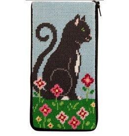 Alice Peterson Black Cat & Flowers Eye Glass Case