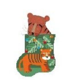 Kathy Schenkel Jungle Tiger w/Tiger Mini Stocking ornament