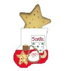 Kathy Schenkel Cookies & Milk w/Star Cookie Mini Stocking ornament