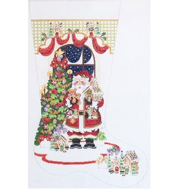 "Strictly Christmas Santa in front of tree w/gingerbread houses stocking<br /> 13"" x 23"""