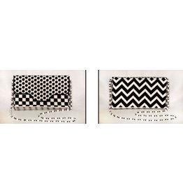 "JP Needlepoint Black &amp; White Graphics Brick Bag Purse<br /> 5"" x 9"""