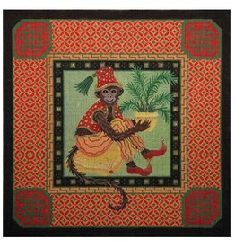 "JP Needlepoint Melon Monkey<br /> 16"" x 16"""