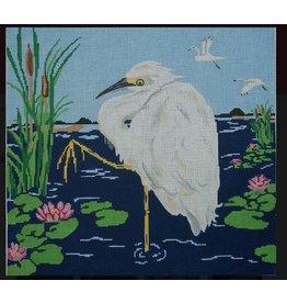 "Judy Keenan Snowy Egret<br /> 14"" x 15"""