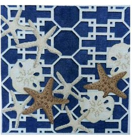 "Associated Talent Starfish/Sand Dollars Lattice /Navy<br /> 14"" x 14"""