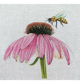 "Unique NZ Designs Bee on Cone Flower<br /> 10"" x 10"""