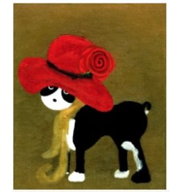 "Unique NZ Designs Boston Terrier in a Red Hat10"" x 7"""
