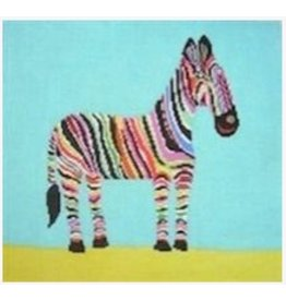 "Birds of a Feather Colorful Zebra<br /> 14"" x 12.5"""