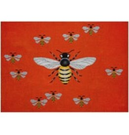 "JP Needlepoint Bees with orange background<br /> 14"" x 10"""