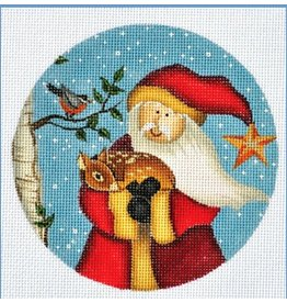 "Danji Santa holding deer ornament<br /> 5"" Round"