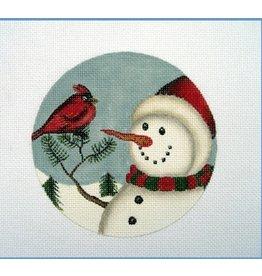 "Danji Snowman and Cardinal ornament<br /> 5"" Round"