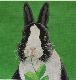 "Meredith Bunny - black &amp; white<br /> 13"" x 13"""