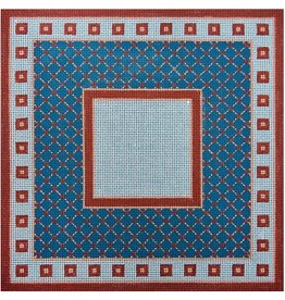 "JP Needlepoint Small Blue &amp; Rust Squares &amp; Diamond<br /> 1"" x 11"""