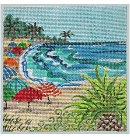 """Julie Mar Beach Scapes - Tropical Umbrella<br /> 5"""" x 5"""""""