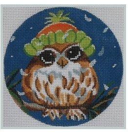 Julie Mar Owl in Snow Cap ornament<br /> 4 Round
