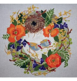 "Melissa Prince Finches in Spring Wreath<br /> 14"" x 14"""