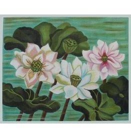 "Julie Mar Pastel Lotus Pond on Green<br /> 14"" x 11.5"""