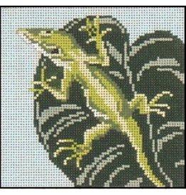 Needle Crossing Anole on Leaf
