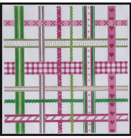 """Kate Dickerson Woven Ribbons - pink &amp; green<br /> 13"""" x 13"""""""