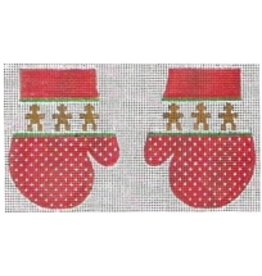 Stitch-It Pair of Red Mittens w/Gingerbread Men