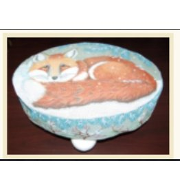 "Fleur de Paris Footstool unpainted 3"" Bun Feet for Snowy Red Fox"