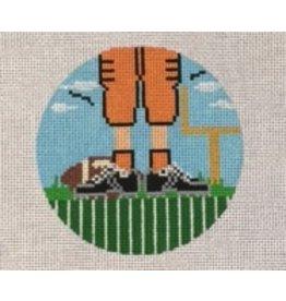 "Melissa Shirley Football Feet - ornament<br /> 5"" Round"