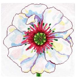 "Jean Smith Designs White Poppy<br /> 14"" x 14"""