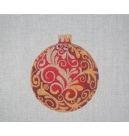 """All About Stitching Red w/Gold Leaves ornament<br /> 4"""" Round"""